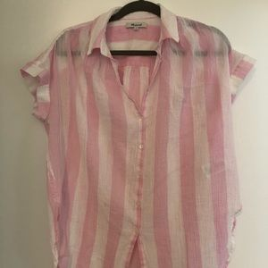 Madewell Pink Stripped Button Down